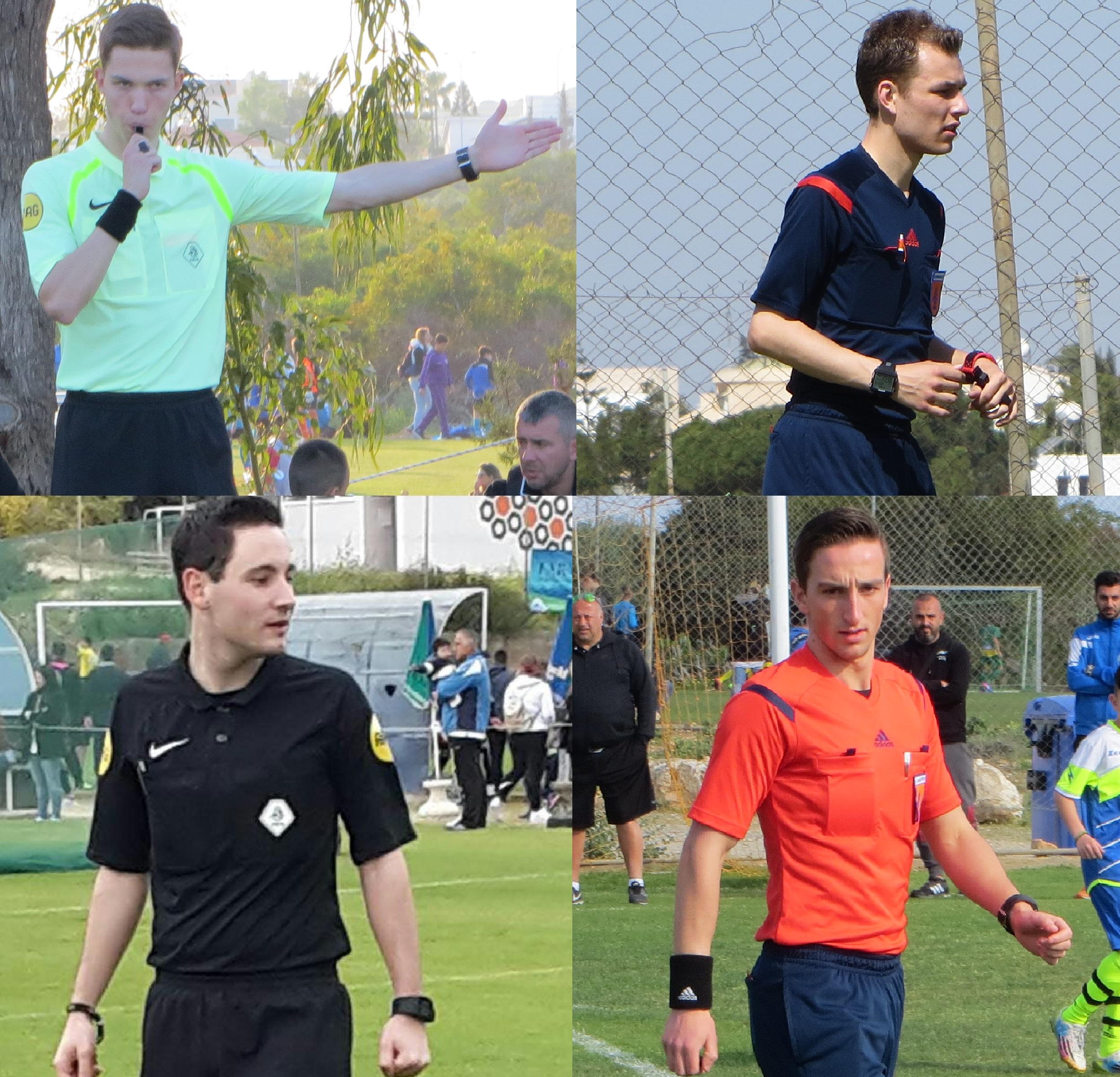De Nederlandse scheidsrechters in actie tijdens het Ayia Napa Soccer Festival.
